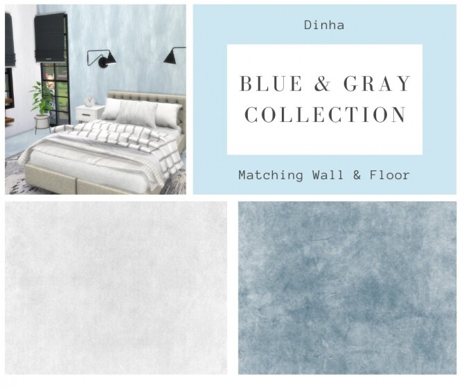 Matching Walls and Floor Blue and Gray Collection (P) at Dinha Gamer image 10111 670x562 Sims 4 Updates