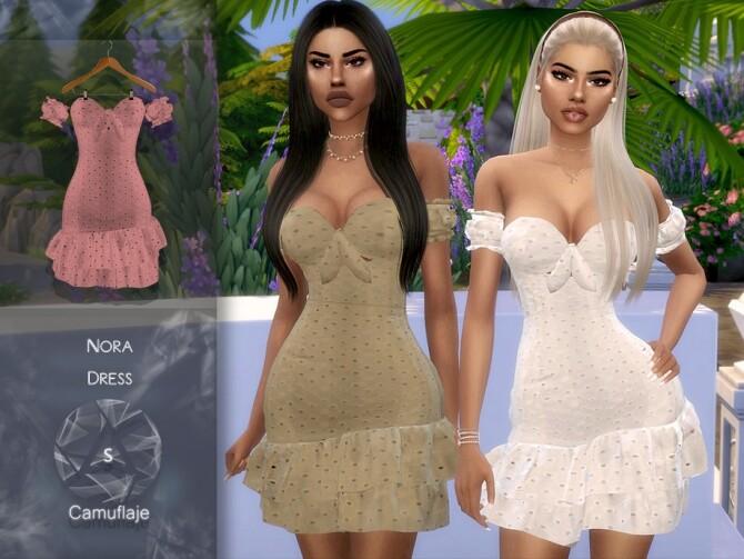 Sims 4 Nora Dress by Camuflaje at TSR