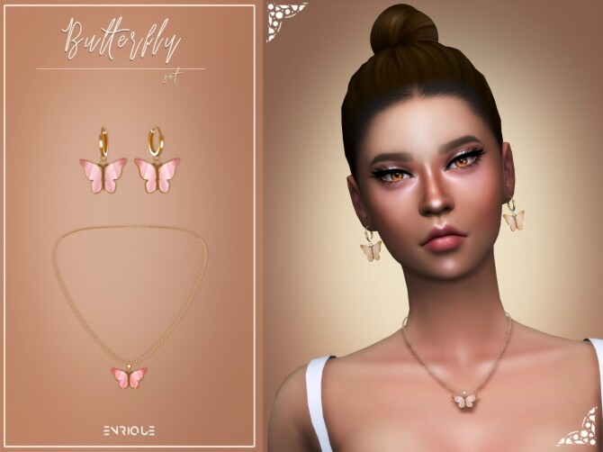 Sims 4 Butterfly Set: earrings and necklace at Enriques4