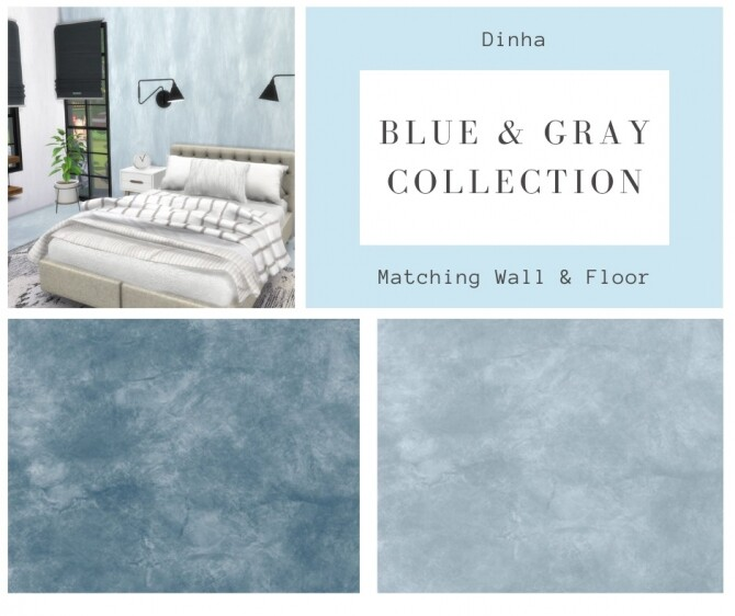 Matching Walls and Floor Blue and Gray Collection (P) at Dinha Gamer image 1028 670x562 Sims 4 Updates