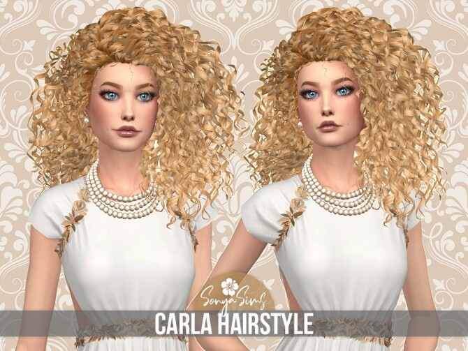 Sims 4 CARLA HAIRSTYLE + DAISY FLOWER ACCESSORY at Sonya Sims