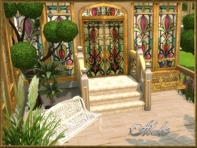Sims 4 Indah Glass Doors and Windows + Stone Step and Bench at Abuk0 Sims4