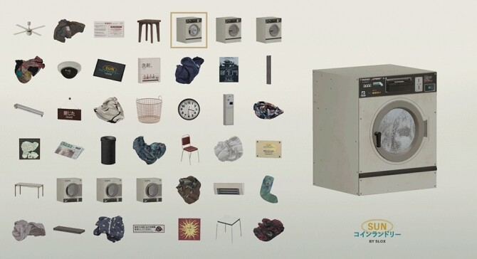 Sims 4 SUN Laundromat / SUN Coin laundry at Slox