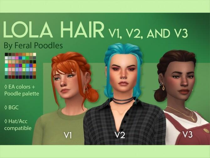 Sims 4 Lola Hair V1 full bangs by feralpoodles at TSR