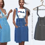 Denim Skirt with Spaghetti Straps by Sims House