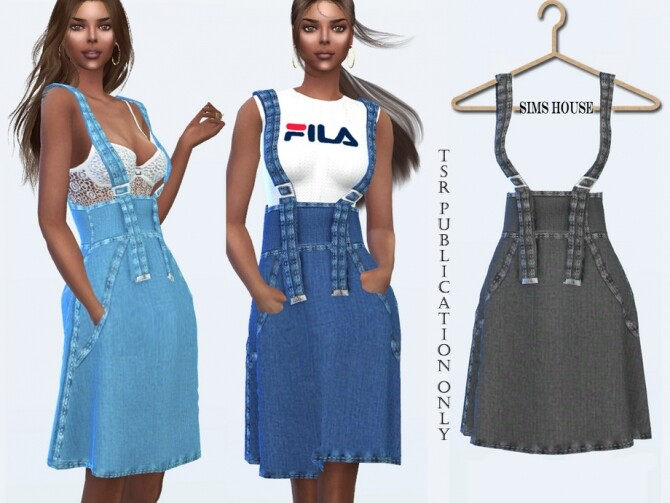 Denim Skirt with Spaghetti Straps by Sims House at TSR image 11212 670x503 Sims 4 Updates