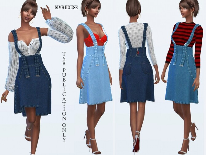 Denim Skirt with Spaghetti Straps by Sims House at TSR image 11312 670x503 Sims 4 Updates