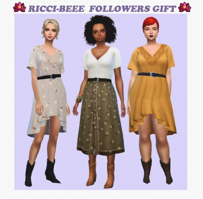 Sims 4 Dresses and boots at Ricci Bee
