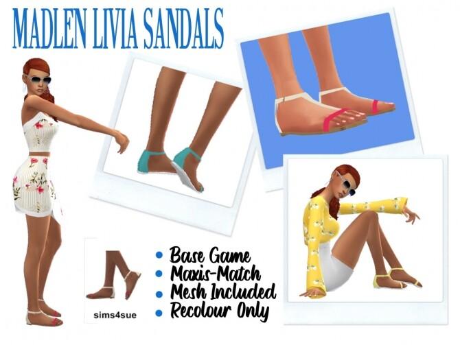 Sims 4 MADLEN'S LIVIA SANDALS at Sims4Sue