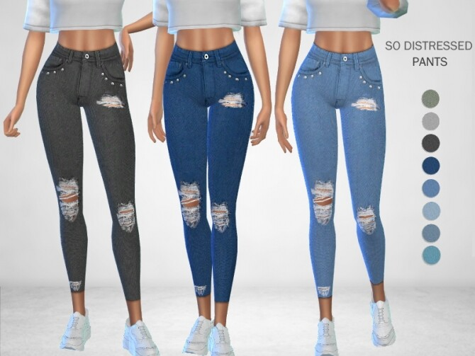 Sims 4 So Distressed Pants by Puresim at TSR