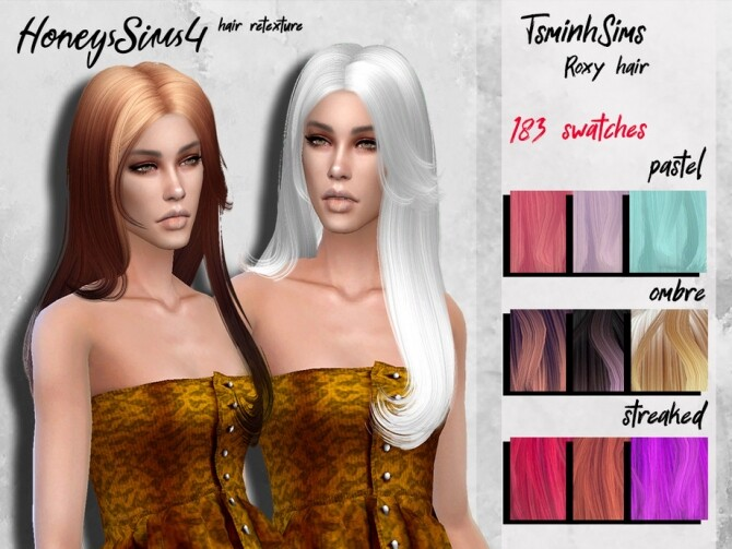 TsminhSims Roxy female hair retexture by HoneysSims4 at TSR image 1215 670x503 Sims 4 Updates