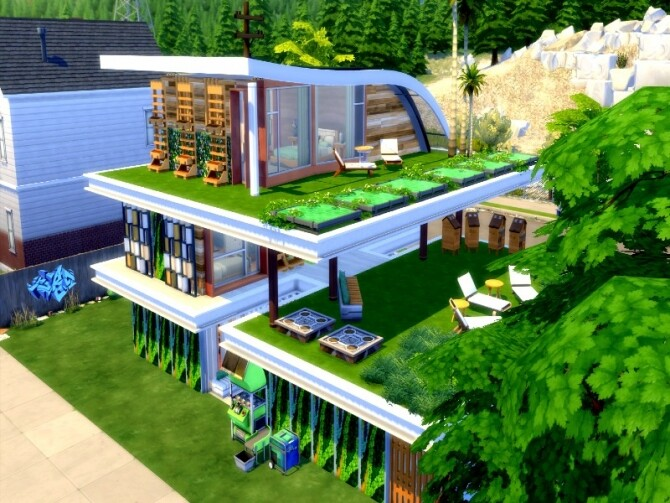 Eco modern house by GenkaiHaretsu at TSR image 1250 670x503 Sims 4 Updates