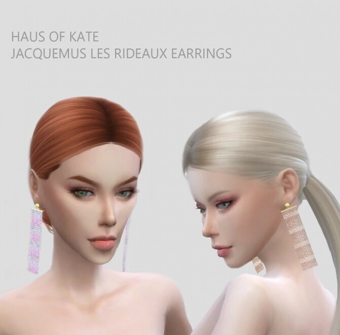 Sims 4 Crystal pearls dangling earrings at Haus of Kate