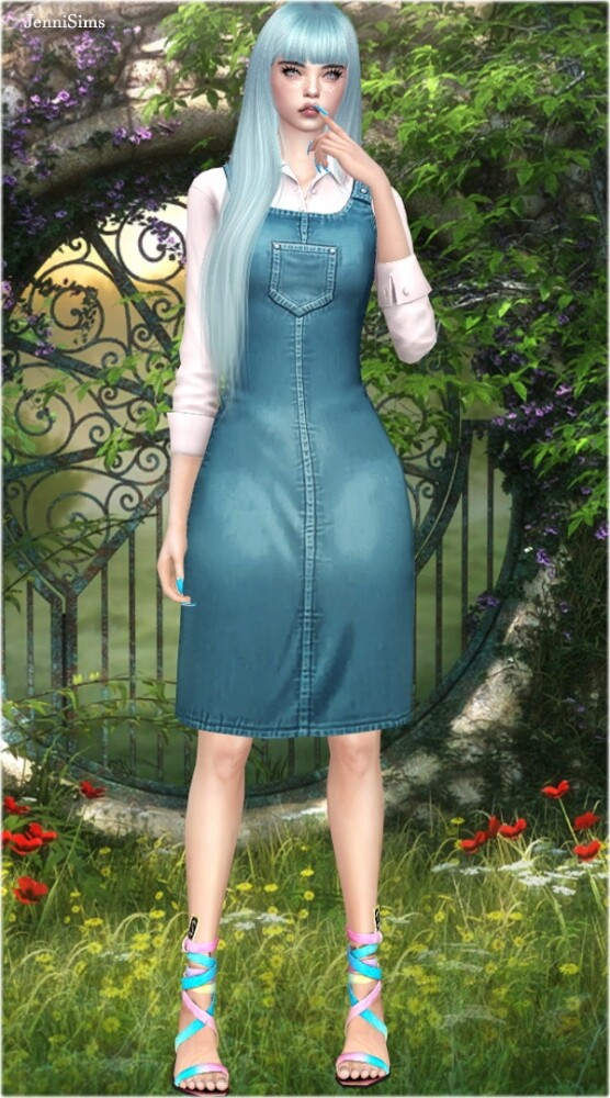 Denim dungaree dress at Jenni Sims image 12915 556x1000 Sims 4 Updates