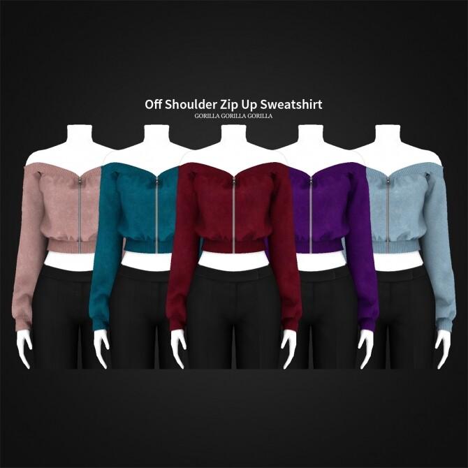Off Shoulder Zip Up Sweatshirt at Gorilla image 13124 670x670 Sims 4 Updates