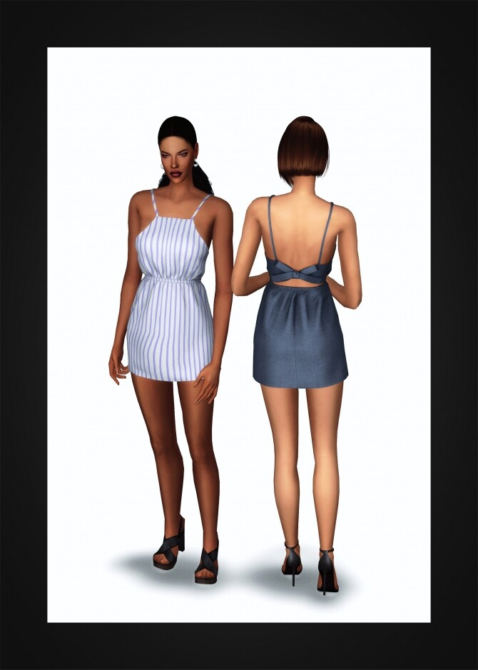 Sims 4 Bow Tie Open Back Dress at Gorilla