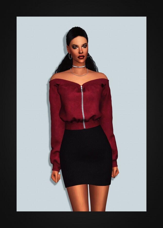 Off Shoulder Zip Up Sweatshirt at Gorilla image 13320 670x937 Sims 4 Updates