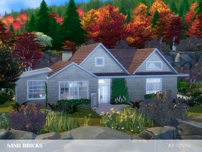 Sims 4 Sand Bricks House by Sosou at TSR