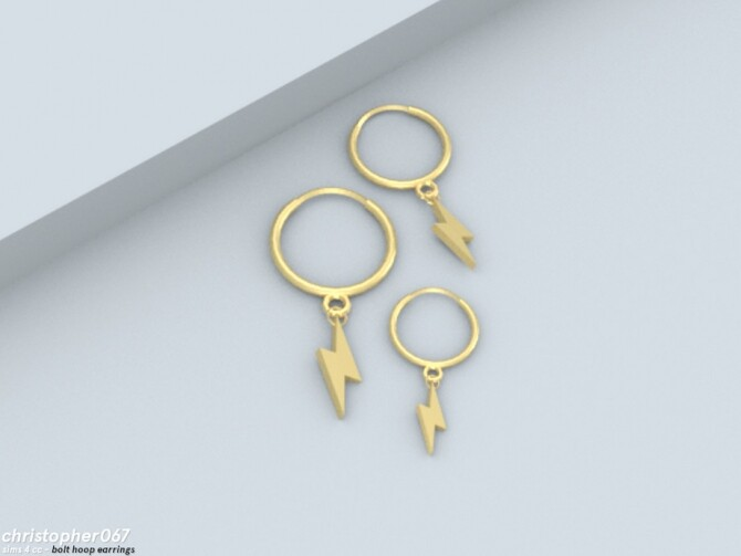Sims 4 Bolt Hoop Earrings by Christopher067 at TSR
