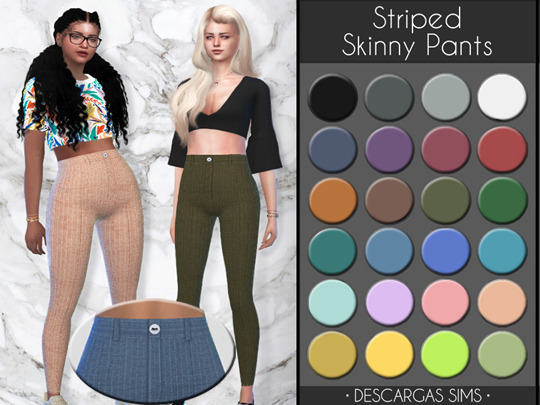 Sims 4 Striped Skinny Pants at Descargas Sims