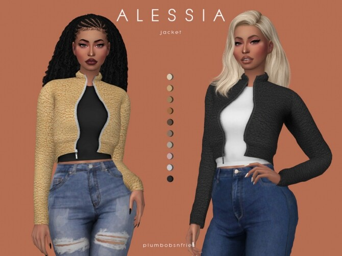 ALESSIA jacket by Plumbobs n Fries at TSR image 14014 670x503 Sims 4 Updates