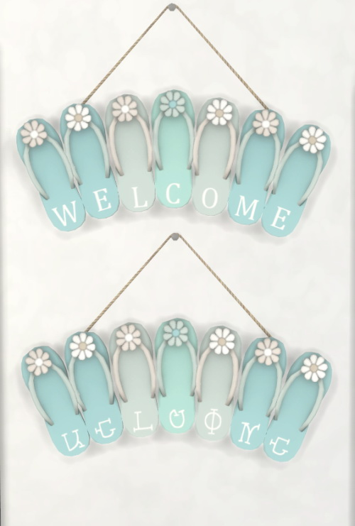Sims 4 Flip Flop WELCOME Sign at Simthing New