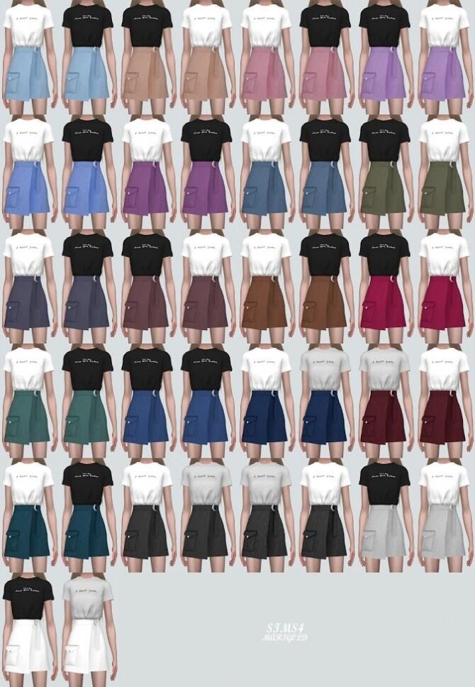Sims 4 Pocket Wrap Skirt With T shirts at Marigold
