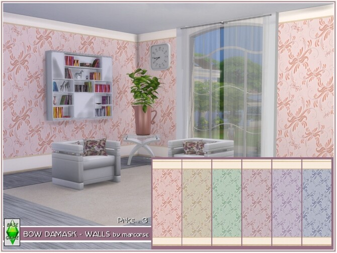 Sims 4 Bow Damask Walls by marcorse at TSR