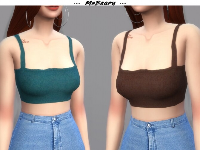 Sims 4 Cropped Sweater Tank Top by MsBeary at TSR