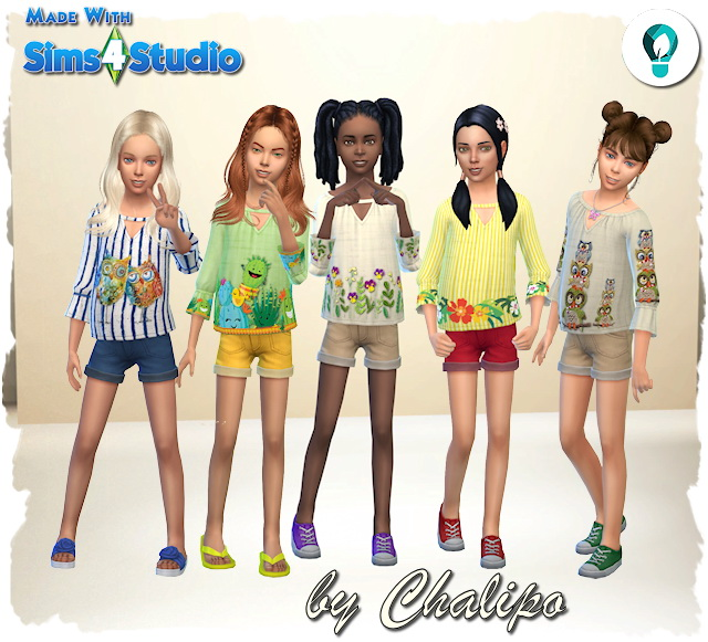 Sims 4 Child eco top by Chalipo at All 4 Sims
