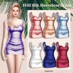 Frill Silk Sleeveless Dress