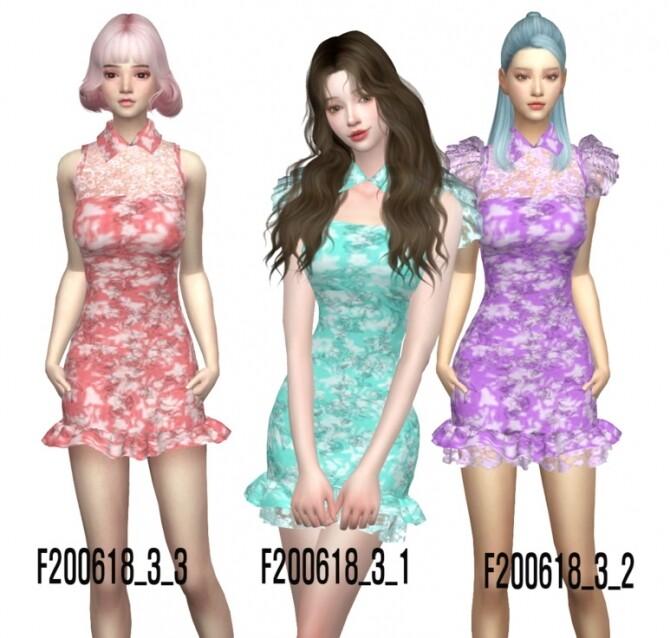 Sims 4 Collar lace mini dress 3 ver. at Simjigi