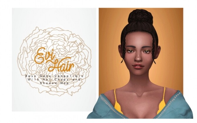 Evi Hair bun with cute braids at the front at Isjao image 1768 670x418 Sims 4 Updates