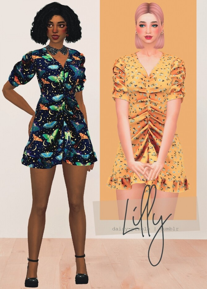 Sims 4 Lilly Dress by Anna at Daisy Pixels