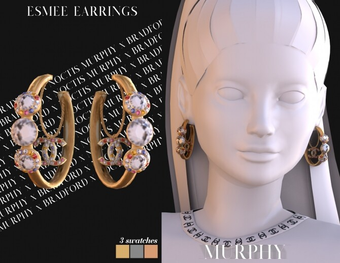 Sims 4 Esmee Earrings by Silence Bradford at MURPHY