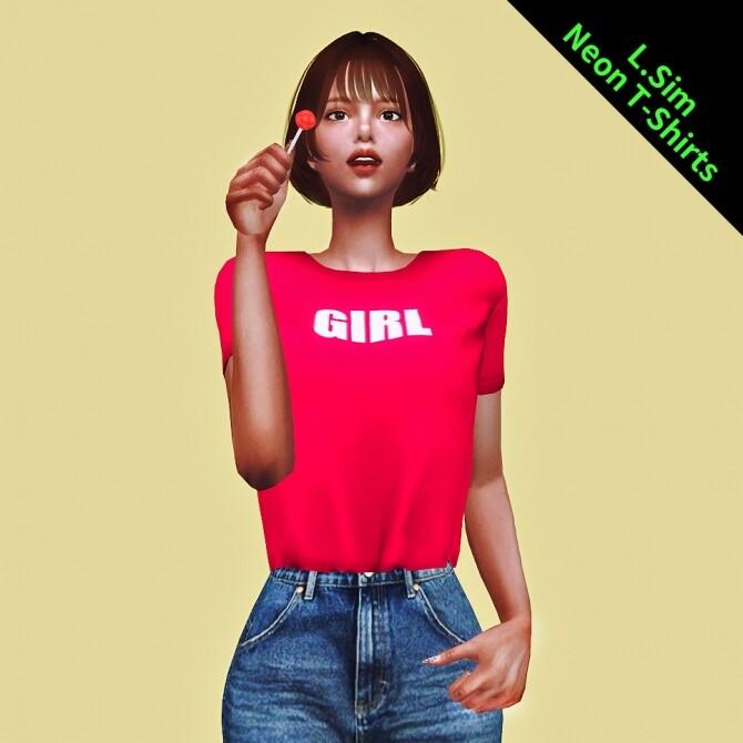 Sims 4 Female neon T shirt at L.Sim