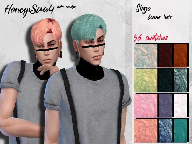 Sims 4 Simjo Comma male hair recolor by HoneysSims4 at TSR