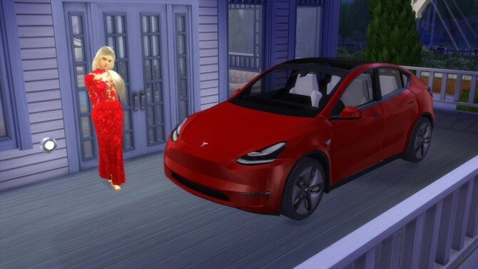 Sims 4 Tesla Model Y at LorySims