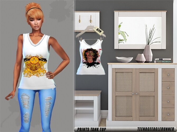 Sims 4 Skinny Jeans, Over the Top &  Prints Tank Top at Teenageeaglerunner