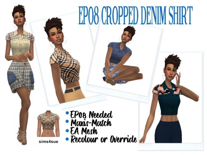 Sims 4 EP08 CROPPED DENIM SHIRT at Sims4Sue