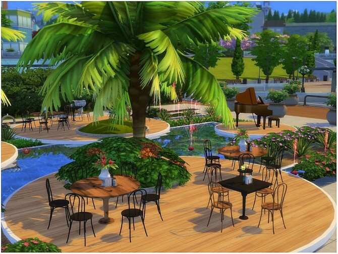 Sims 4 Red Fountain Restaurant by lotsbymanal at TSR