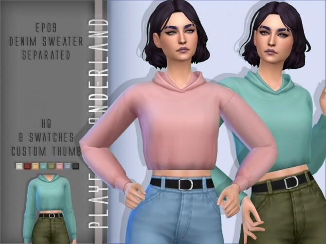 Sims 4 EP09 Denim Sweater Separated by PlayersWonderland at TSR