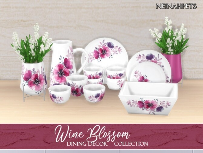 Sims 4 Wine Blossom Dining Decor by neinahpets at TSR
