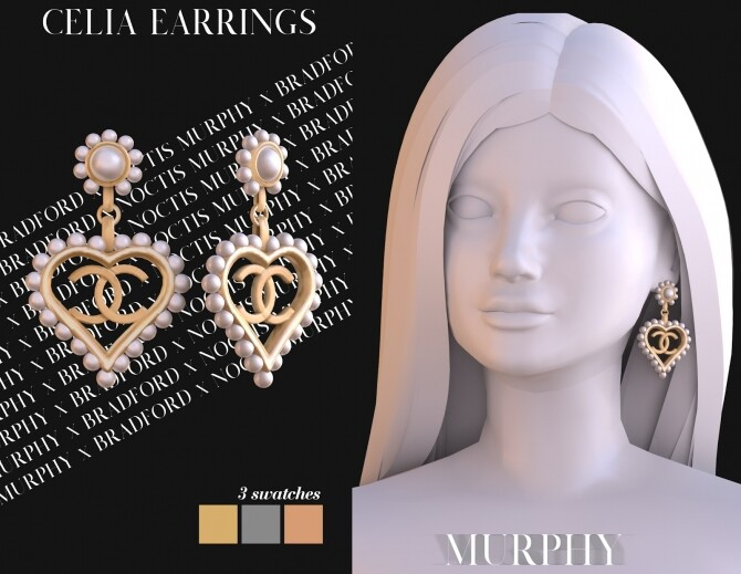 Sims 4 Celia Earrings by Silence Bradford at MURPHY