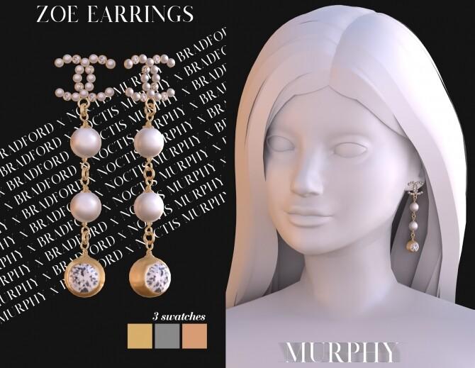 Sims 4 Zoe Earrings by Silence Bradford at MURPHY