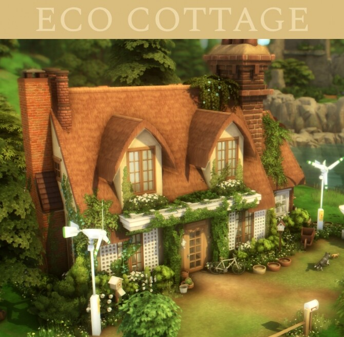 Sims 4 Eco cottage at a winged llama