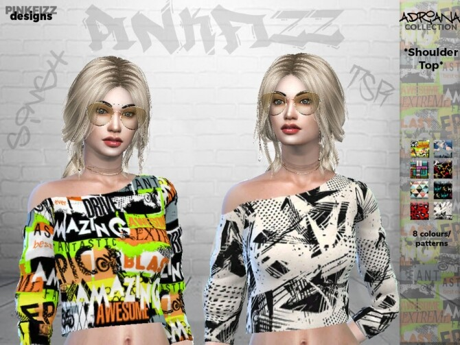 Sims 4 Adriana Shoulder Top PF111 by Pinkfizzzzz at TSR