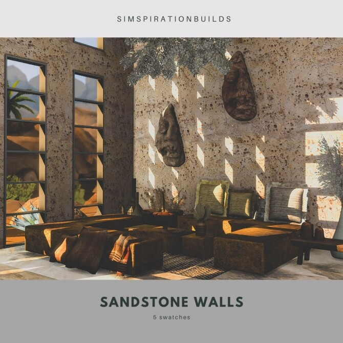 Sandstone walls at Simspiration Builds image 2231 670x670 Sims 4 Updates
