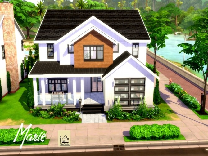 Sims 4 Marie modern cozy family home by GenkaiHaretsu at TSR
