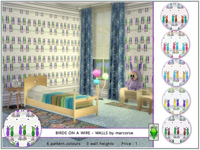 Sims 4 Birds on a Wire Walls by marcorse at TSR
